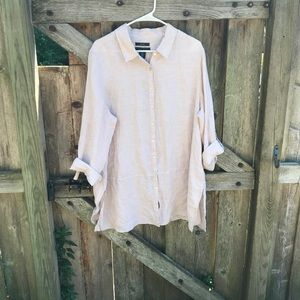 Tahari 100% linen sand heather button up tunic 1X